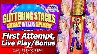 Glittering Stacks Slot - First Attempt, Live Play, Free Spins Bonus and Line Hits