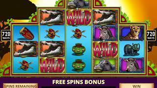 RHINO SAFARI Video Slot Casino Game with a BIG GAME FREE SPIN BONUS