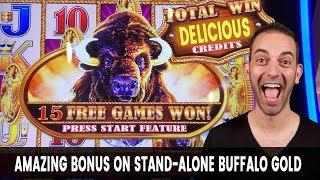• This BUFFALO BONUS Is GOLD! • 4 COIN Trigger with MASSIVE WIN!