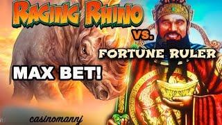 RAGING RHINO vs. FORTUNE RULER SLOT - MAX BET BONUS FEATURES! - Slot Machine Bonus