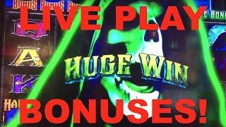 HUGE WIN!!! LIVE PLAY on Haunted House After Dark Slot Machine with Bonuses!