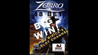 ~***HUGE WIN ***~ Zorro SLOT MACHINE ~ $8.00 Bet ~ Mighty Cash WHIPPING BONUS! ~  2¢ • DJ BIZICK'S S