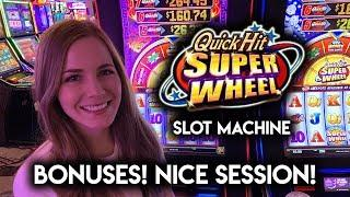 BONUSES on Quick Hit Superwheel Slot Machine! How many Quick Hits will it give?