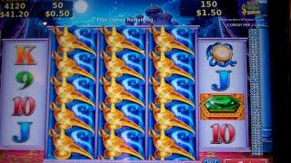 Tales of the Moon Night Slot Machine Bonus - 7 Free Spins with 2 Gigantic Spins Feature - Nice Win