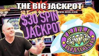 $30 SPINS! • HUGE JACKPOT on 3 REEL •TRIPLE DIAMOND SLOTS