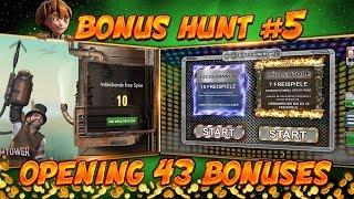 BONUS HUNT #5 - OPENING 43 SLOT BONUSES LIVE ON STREAM! - BIG WINS?