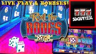 LIVE PLAY and BONUSES on Roll The Bones Slot Machine
