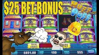 $25 BET! HUFF N PUFF SLOT MACHINE HIGH LIMIT! STILL SEARCHING FOR THAT JACKPOT!