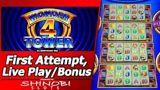 Wonder 4 Tower Slot - First Attempt, Tower Bonus and Numerous Free Games