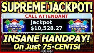 $10,000+ SUPREME JACKPOT, Minimum Bet! Insane, Massive Handpay! 14,038x bet in Konami Diamond Trails