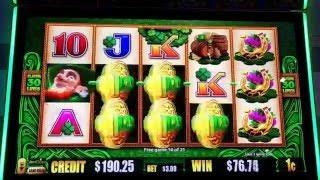 EXTRA BONUS WILDS Live Play Bonus Las Vegas Casino Slot LUCKY LEPRECHAUN 21 Free Games = 17,125 unit