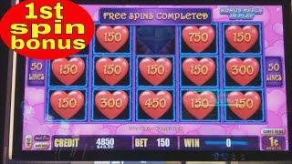 First spin Bonus •️•️LIGHTING LINK•️•️ Heart Throb Slot Machine !!! Live Slot Play