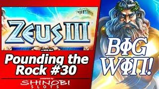 Pounding the Rock #30 - Big Win Free Spins in Attempt #4 at Zeus III by WMS