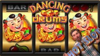 BIG WINS! Bang My Drum! Dancing Drums Slot Machine Bonuses and LIVE PLAY!