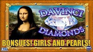Davinci Diamonds Slot Machine Bonus! GIRLS AND PEARLS!