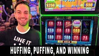 • HUFFING + PUFFING = WINNING! Brick House BONUS • Free Spins HUGE HIT on Green Machine!