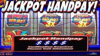 • JACKPOT HANDPAY!! • $1 TRIPLE RED HOT 777 SLOT MACHINE JACKPOT