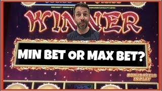 Do I get the bonus on MIN BET or MAX BET? My new betting strategy on SLOTS!