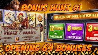 BONUS HUNT #1 - OPENING 64 SLOT BONUSES LIVE ON STREAM! - BIG WINS?