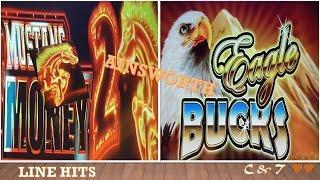 •Nice Wins•  25c Eagle Bucks & •Mustang Money 2 - Slot Machine Line Hits ~ Ainsworth•