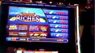 Swiss Riches slot machine bonus win at Revel Casino in Atlantic City, NJ