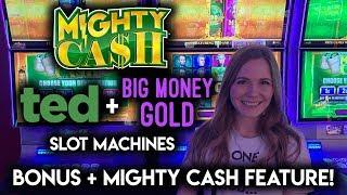 MIGHTY CASH! Slot Machines! Ted and BIG Money Gold! BONUSES!