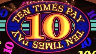 10 Times Pay **$10 HIGH LIMIT** •LIVE PLAY• Slot Machine Pokie at Caesars, Las Vegas