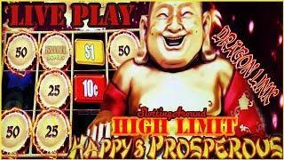 First Attempt! Dragon Link Happy & Prosperous High Limit Live Play Bonus Jackpot Nice slot win
