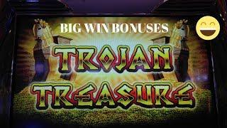 SUPER BIG WIN!  TROJAN TREASURE SLOT MACHINE BONUS