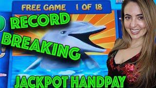 RECORD BREAKING 18 GAMES! HANDPAY on High Limit Magic Pearl in Las Vegas!