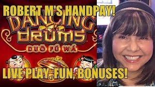 HANDPAY! DANCING DRUMS SLOT MACHINE-LIVE PLAY-COSMO!