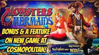 BONUS & FEATURES-NEW MONSTERS AND MERMAIDS SLOT MACHINE