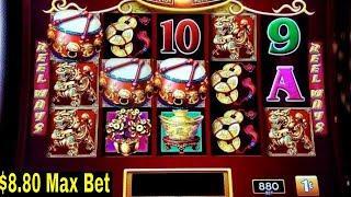 Dancing Drums Slot Machine $8.80 Max Bet Bonus & Buffalo Grand Slot Bonus Won | Nice Session