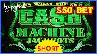 $50 MAX BET WHEEL SPIN! Cash Machine Jackpots Slot! #Shorts