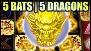 •5 BATS & 5 DRAGONS• ALBERT VS. MS. CATHY AT THE CASINO! Slot Machine Bonus Big Win! (Aristocrat)