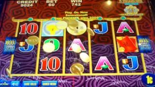 Aristocrat 5 Dragons Deluxe slot machine  Free spins with coin show