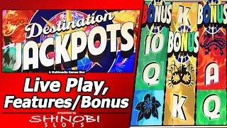 Destination Jackpots Slot - Live Play, Free Spins Bonus with Re-Triggers, and All-Match Pays