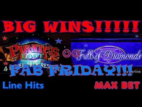 ~FAB FRIDAY~ *BIG WINS* Konami Pirates Loot Full Diamonds | Slot Machine Line Hits | MAX BET