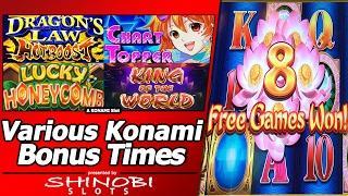 Various Konami Slot Bonuses - Chart Topper, Dragon's Law HotBoost, King of the World, and More...