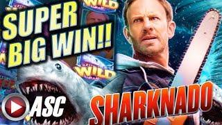 •SUPER BIG WIN!!• SHARKNADO (Aristocrat | Gimmie Games) OMG! RETRIGGERS!! Slot Machine Bonus