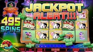 HANDPAY BONUS!!!! 495 Spins on Invaders Return From Planet Moolah 1c Wms Slot in San Manuel Casino
