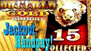 **JACKPOT HANDPAY**  BUFFALO GOLD!!  All 15 Golden Buffalo Collected!