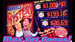 Marvels of Mystery slot machine bonus, Max Bet Bonus, Live Play, by Multimedia Games