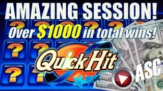 • AMAZING STREAK! $1K IN WINS! • QUICK HIT WILD BLUE | Slot Machine Bonus Big Wins (Bally)