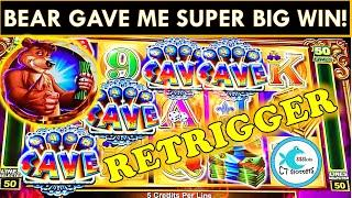 SUPER BIG WIN ON CASH CAVE SLOT MACHINE! MAXED OUT MULTIPLIERS! RETRIGGER! LOVE THIS BEAR & QUACKPOT