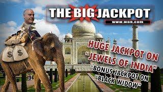 "• HUGE Win on ""Jewels of India"" / Bonus Jackpot on Black Widow"