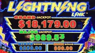 Lightning Link Slot Machine - Aristocrat - 2 Bonuses - Big Win! Nickel Denom.