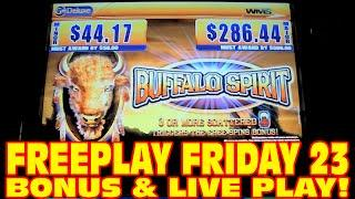 Buffalo Spirit LIVE PLAY&BONUS WIN Slot Machine FREEPLAY FRIDAY 23