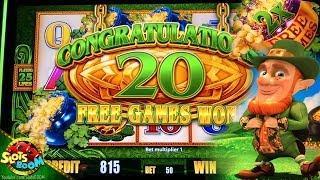 Happy St. Patrick's Day !!! Wild Lepre' Coins BONUSES!!! in San Manuel Casino on 2c Aristocrat Slot