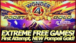 Wonder 4 Boost Gold Slot Machine - NEW Pompeii Gold!  Extreme Free Games, Live Play and Bonuses!